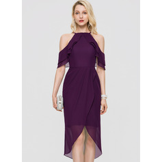 Sheath/Column Square Neckline Asymmetrical Chiffon Cocktail Dress