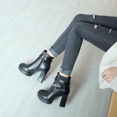 Mulheres Couro Salto robusto Bombas Plataforma Bota no tornozelo com Outros sapatos