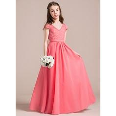 A-Linie/Princess-Linie V-Ausschnitt Bodenlang Chiffon Spitze Kleid für junge Brautjungfern (009087908)
