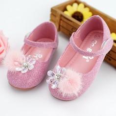 Mädchens Round Toe Ballerinas Leder Flache Ferse Flache Schuhe Blumenmädchen Schuhe mit Strass Klettverschluss Bommel