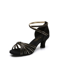 Women's Satin Heels Sandals Latin With Ankle Strap Buckle Dance Shoes