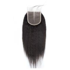 """4""""*4"""" 5A Kinky Hétéro les cheveux humains Fermeture (Vendu en une seule pièce)"""