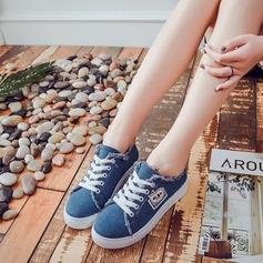 Женщины Жан Плоский каблук На плокой подошве с Шнуровка обувь