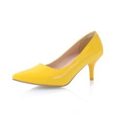 Lackleder Kätzchen Absatz Absatzschuhe Geschlossene Zehe Schuhe