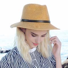 Damer' Mode/Klassisk stil Flätad Sugrör med Nita Halmhatt/Beach / Sun Klobúky