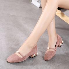 Frauen Veloursleder Stämmiger Absatz Absatzschuhe Geschlossene Zehe mit Nachahmungen von Perlen Schuhe