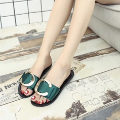 Женщины Атлас Плоский каблук Сандалии Тапочки с пряжка обувь