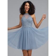 Corte A Decote redondo Curto/Mini Tule Vestido de boas vindas com lantejoulas