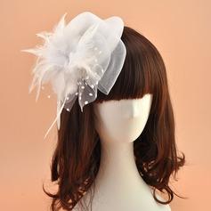 Dames Beau/Charmant Feather/Fil net Chapeaux de type fascinator