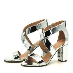 Kvinnor PVC Tjockt Häl Sandaler Pumps Peep Toe med Zipper skor