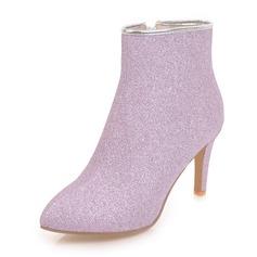 Frauen Funkelnde Glitzer Stöckel Absatz Geschlossene Zehe Stiefel Stiefelette mit Reißverschluss Schuhe