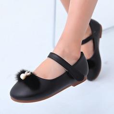 Flicka Stängt Toe Microfiber läder platt Heel Platta Skor / Fritidsskor Flower Girl Shoes med Oäkta Pearl Strass Kardborre