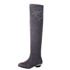 Women's Suede Low Heel Over The Knee Boots With Rhinestone shoes