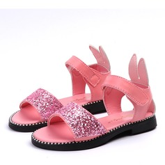 Girl's Peep Toe Leatherette Sandals Flower Girl Shoes With Velcro