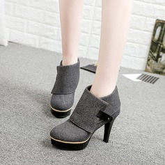 Women's Canvas Stiletto Heel Boots Ankle Boots With Rivet shoes