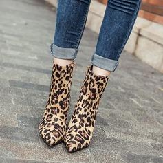 Frauen Veloursleder Stöckel Absatz Absatzschuhe Stiefelette mit Tierdruckmuster Reißverschluss Schuhe