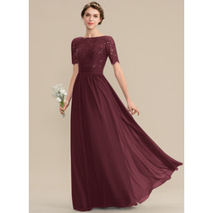 A-Line Scoop Neck Floor-Length Chiffon Lace Bridesmaid Dress With Sequins (007165863)