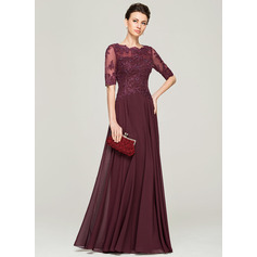 A-Line/Princess Scoop Neck Floor-Length Chiffon Lace Mother of the Bride Dress With Beading Sequins (008062570)