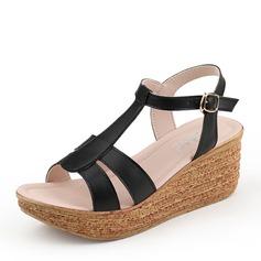 Femmes Suède Talon compensé Sandales Compensée À bout ouvert chaussures
