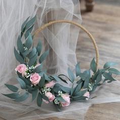 Charme Rond Satiné Bouquets de mariée/Bouquets de demoiselle d'honneur (vendu en une seule pièce) -