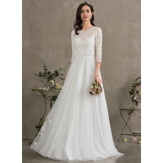 A-Line Sweetheart Floor-Length Tulle Wedding Dress