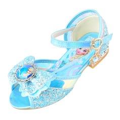 Fille de À bout ouvert similicuir Low Heel Sandales Chaussures de fille de fleur avec Bowknot Boucle