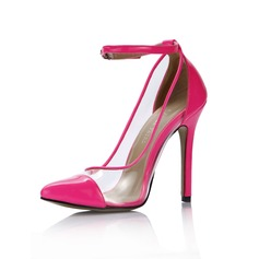 Cuir Luisant Talon aiguille Escarpins Bout fermé chaussures (088036265)