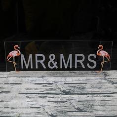 "Dejligt/""Mr. & Mrs"" Rektangulær Akryl Bordkortholdere"