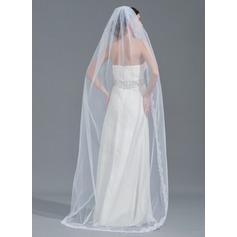 Uno capa Con Aplicación de encaje Velos de novia capilla con Apliques (006115059)