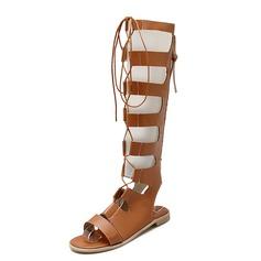 De mujer Cuero Tacón plano Sandalias Planos Solo correa Botas a la rodilla con Cremallera zapatos