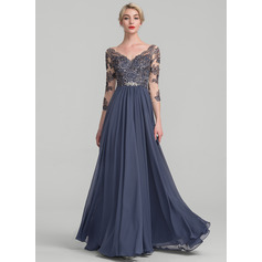 A-Line/Princess V-neck Floor-Length Chiffon Lace Mother of the Bride Dress (008114234)