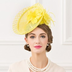 Ladies' Beautiful Linen With Feather Fascinators/Kentucky Derby Hats/Tea Party Hats (196095282)