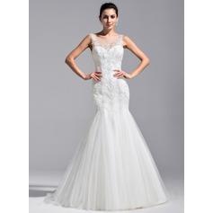 Trompete/Sereia Decote redondo Cauda de sereia Tule Renda Vestido de noiva com Beading lantejoulas
