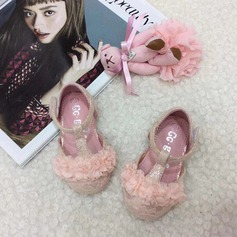 bébé de bout rond Ballet plat Dentelle talon plat Chaussures plates Chaussures de fille de fleur avec Velcro Une fleur