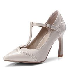 Kvinnor Mocka Lackskinn Stilettklack Pumps Stängt Toe med Spänne skor