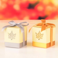 Fall Leaf Laser Cut Cubic Favor Boxes With Ribbons