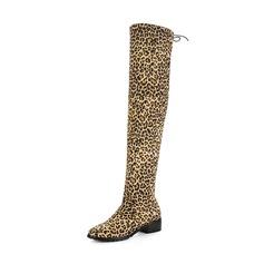 Frauen Veloursleder Stämmiger Absatz Stiefel Stiefel über Knie mit Zuschnüren Schuhe