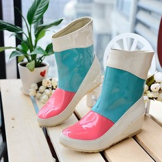Women's Leatherette Flat Heel Flats Closed Toe Wedges Rain Boots With Split Joint shoes