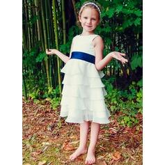 Vestidos princesa/ Formato A Comprimento médio Vestidos de Menina das Flores - Tecido de seda Sem magas Decote redondo com Pregueado/Cintos