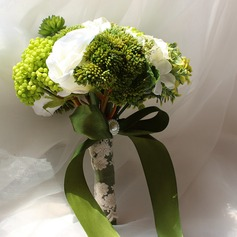 Atraente Forma livre Cetim/Seda artificiais Buquês de noiva -