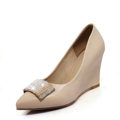 Mulheres PU Plataforma Fechados Calços com Strass sapatos