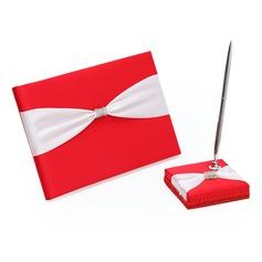 Glanz Strasssteine/Schleifenbänder/Stoffgürtel Gästebuch & Schreibset