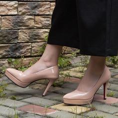 Kvinnor Konstläder Stilettklack Pumps Plattform Stängt Toe skor