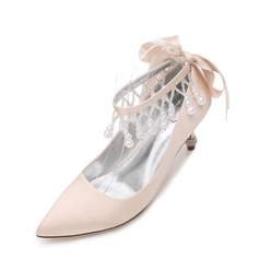 Women's Silk Like Satin Stiletto Heel Closed Toe Pumps With Imitation Pearl