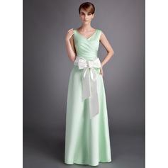 Forme Princesse Col V Longueur ras du sol Satiné Robe de demoiselle d'honneur avec Plissé Ceintures À ruban(s)