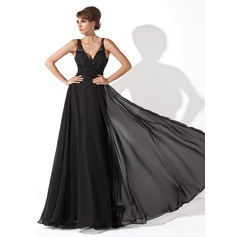 A-Line/Princess V-neck Floor-Length Chiffon Prom Dress With Ruffle Lace Beading