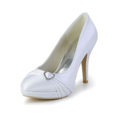 Women's Satin Cone Heel Closed Toe Platform Pumps With Rhinestone Ruched (047029885)