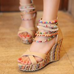 Frauen Kunstleder Keil Absatz Sandalen mit Nachahmungen von Perlen Reißverschluss Schuhe
