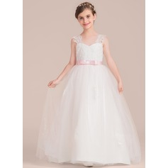 Sweetheart Floor-Length Tulle Junior Bridesmaid Dress With Sash Bow(s)