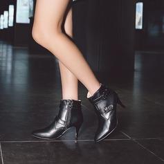 Frauen PU Stöckel Absatz Absatzschuhe Stiefel Stiefel-Wadenlang mit Schnalle Reißverschluss Schuhe